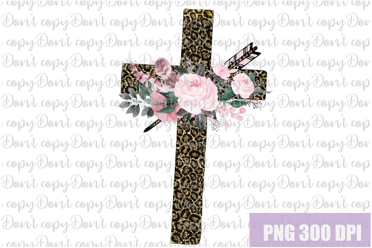 Easter leopard Cross with Flowers Sublimation PNG Design example image 1