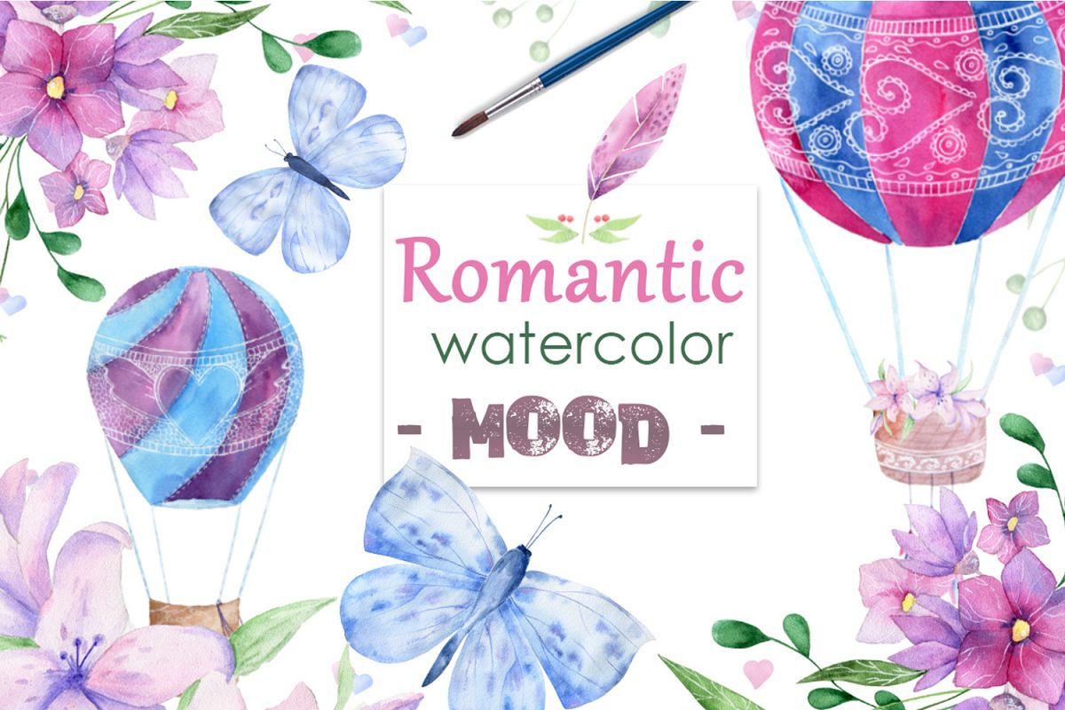Romantic Mood Watercolor Love example image 1