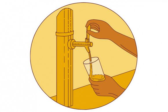 Hand Holding Glass Pouring Beer Tap Circle Drawing example image 1