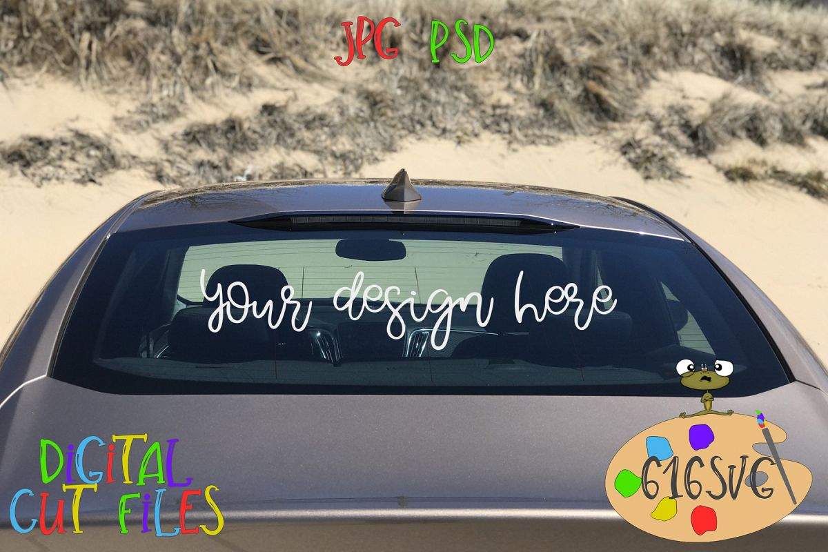 Full Rear Windshield Mockup with Sand Dunes Scenery example image 1