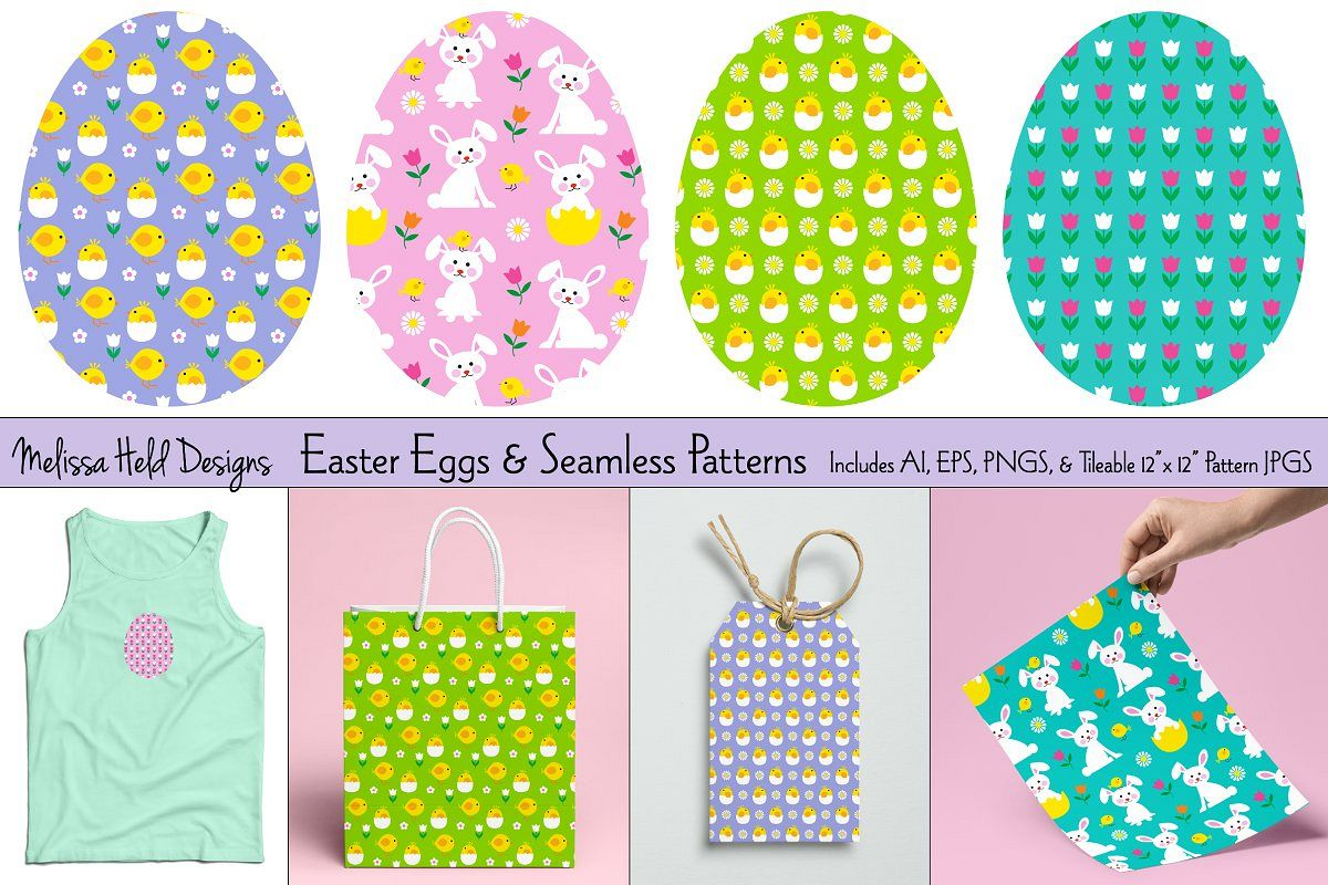 Easter Eggs & Seamless Patterns example image 1