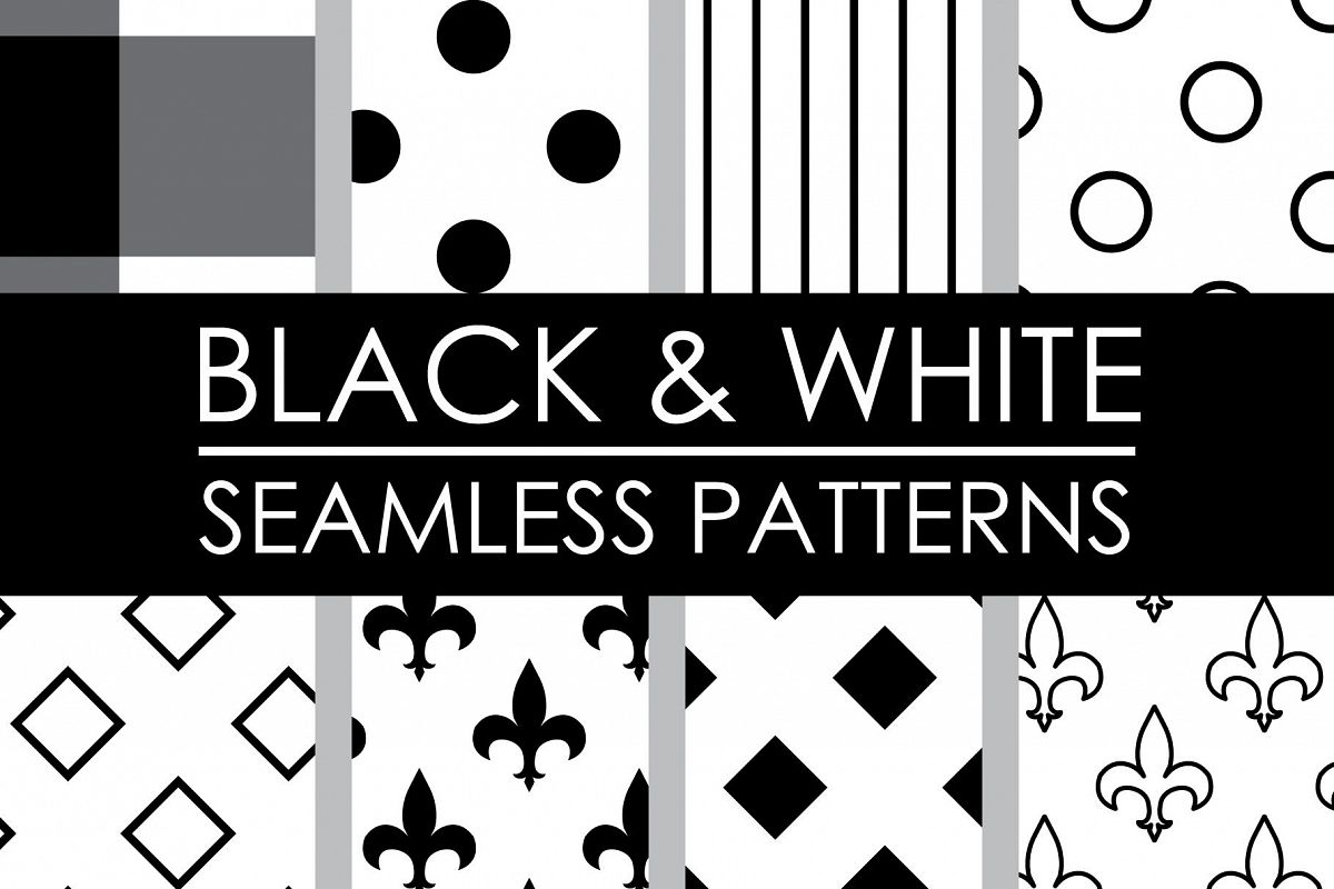 Black and White Seamless Patterns example image 1