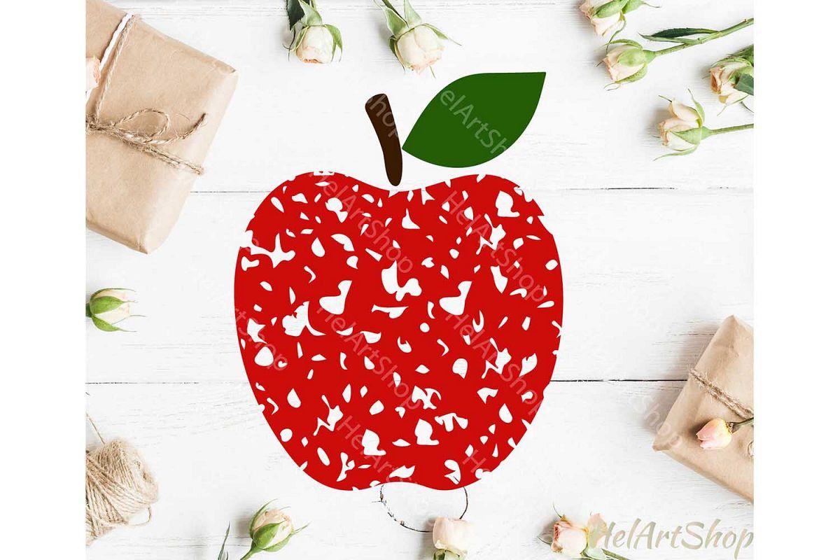 Distressed Apple svg, Grunge Apple svg, Teacher svg, Back To example image 1