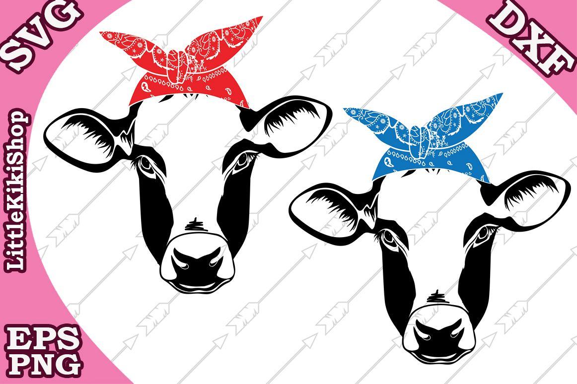 Cow Bandana Svg Heifer Svg,Country Farm Svg,Cow Head Svg example image 1
