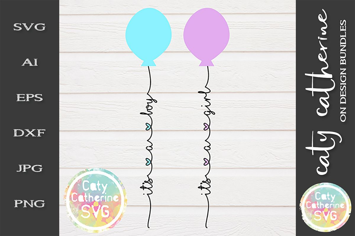 It's A Boy It's A Girl Birth Announcement Balloon Bundle SVG example image 1
