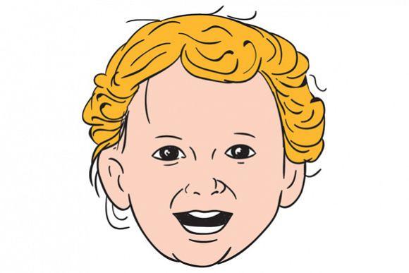 Blonde Caucasian Toddler Head Smiling Drawing example image 1