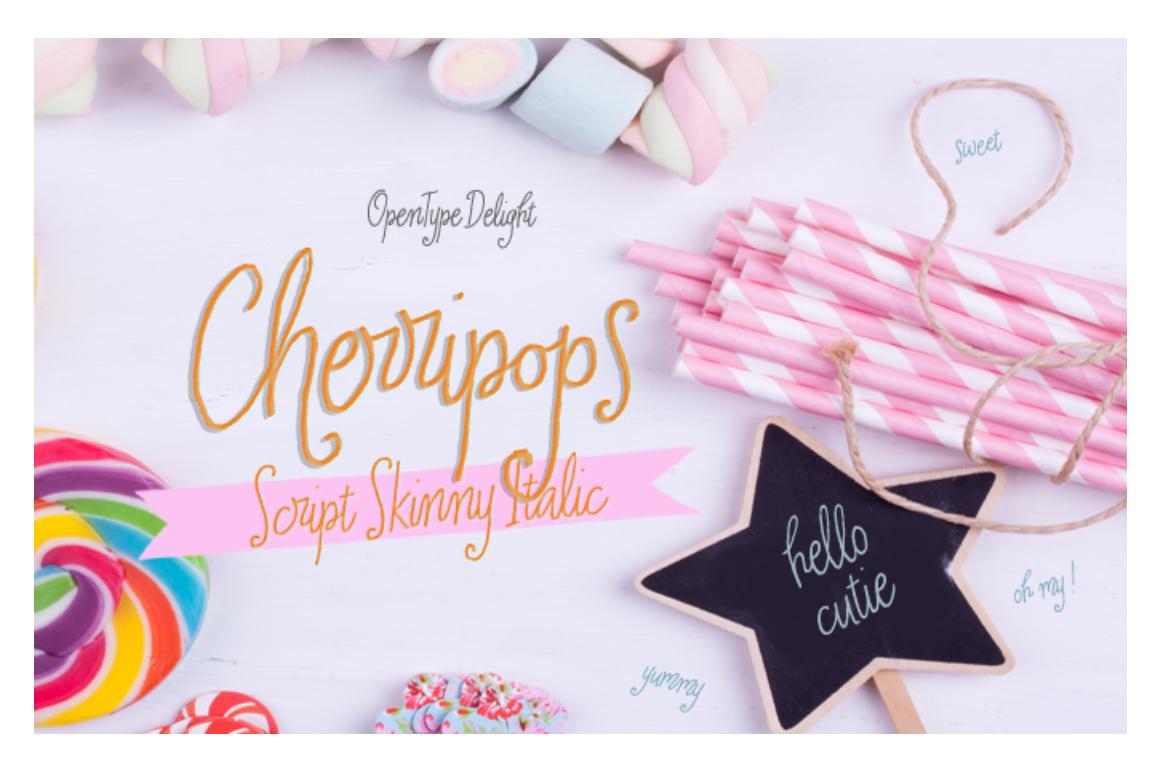Cherripops Script Skinny Italic example image 1