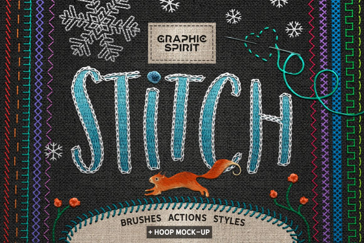 Ps STITCH: Brushes, Actions, Styles example image 1