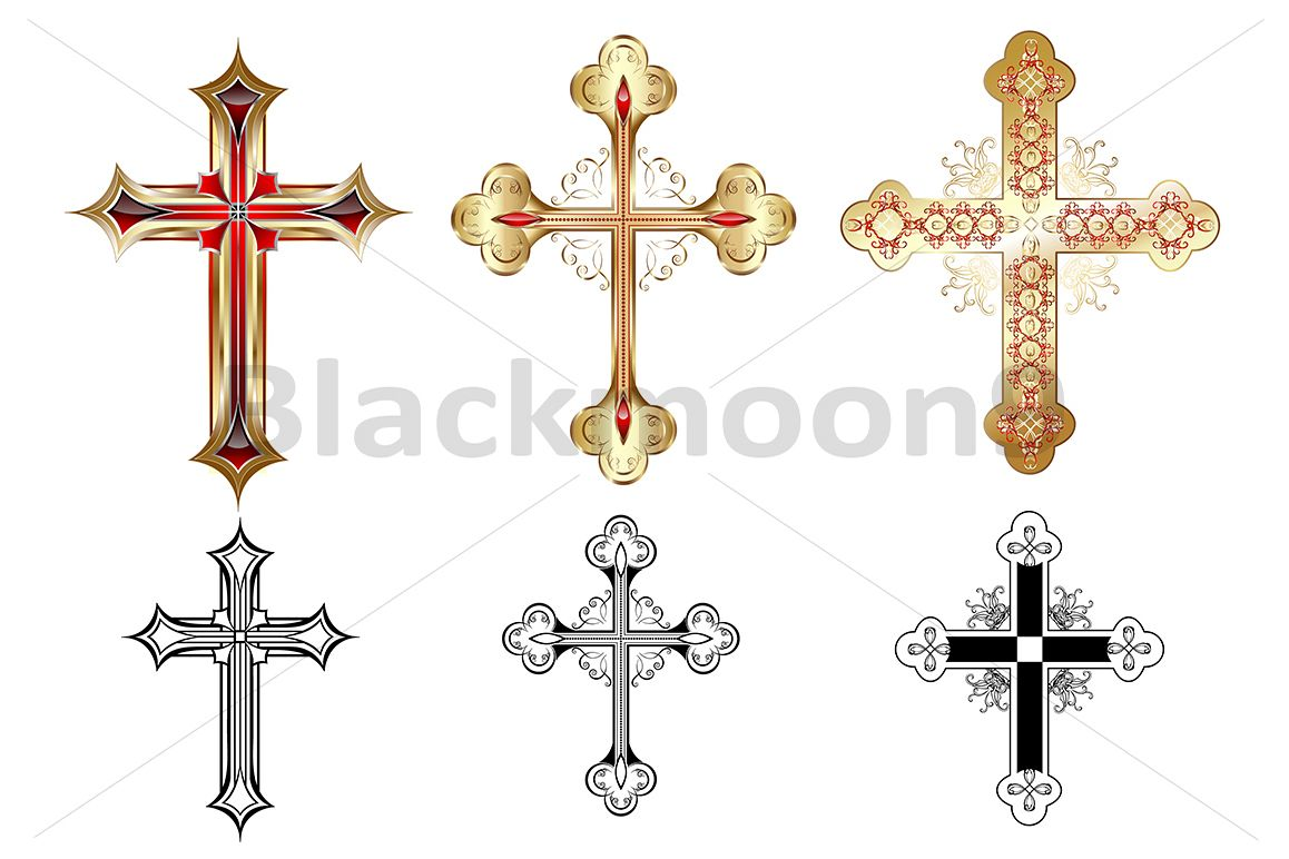 Three gold crosses example image 1