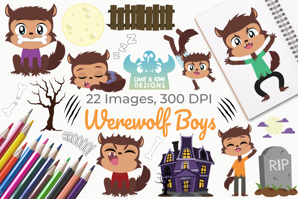 Werewolf Boys Clipart, Instant Download Vector Art example image 1