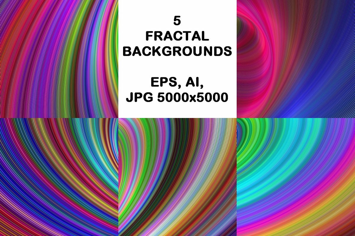 5 Colorful Backgrounds AI, EPS, JPG 5000x5000 example image 1