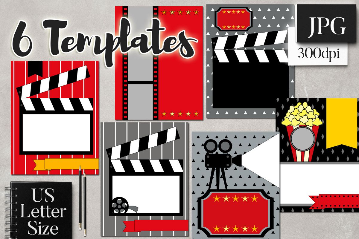 Movie Night Planner Binder Page Cover Templates Example Image 1