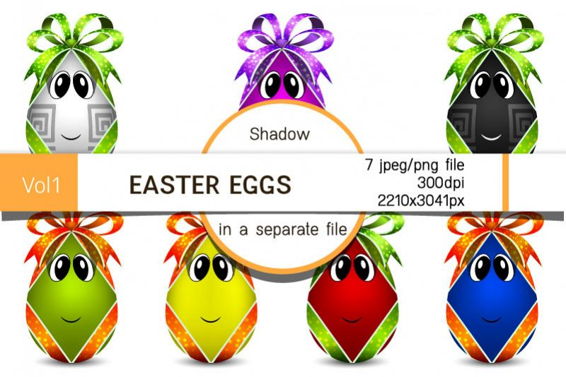 Easter eggs with bows. Egg characters for Easter in png, jpg example image 1