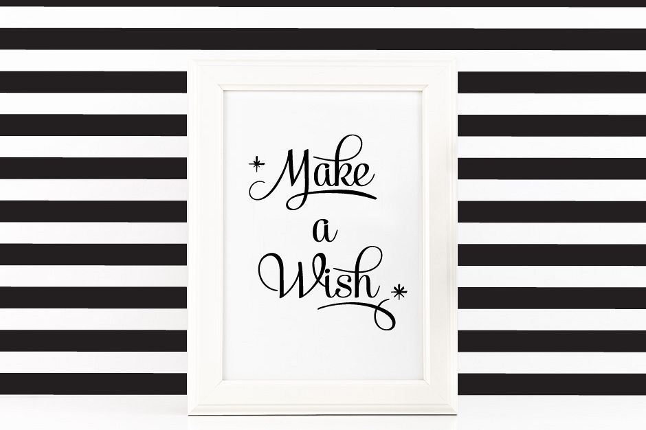 Make a Wish Poster Inspirational Quote to Print in Black + SVG files example image 1