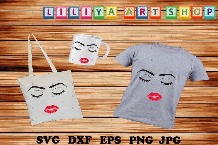 Eyelashes Girl svg,Make up,Wake up,Eyelashes Girl with lips example image 1