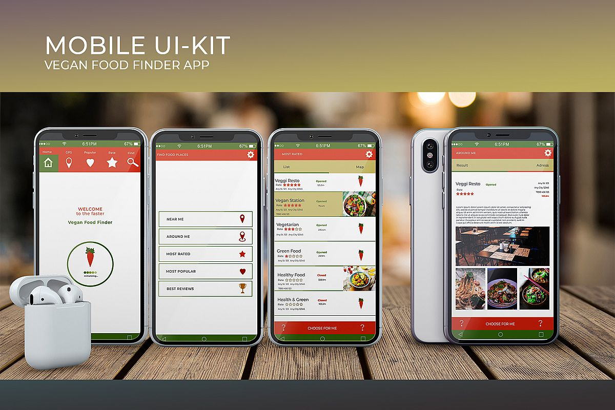 Mobile Ui-Kit | Vegan Food Finder App - 6 PSD Templates example image 1
