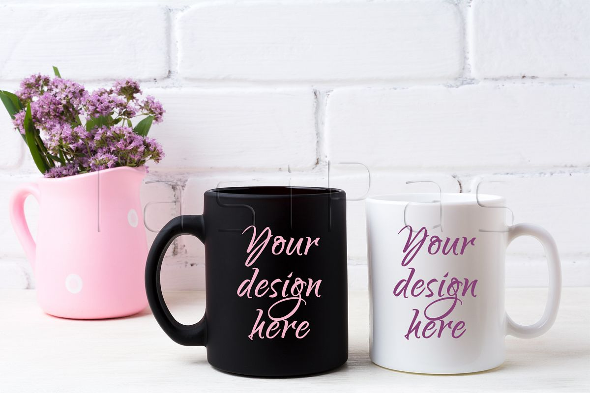 White and black coffee mug mockup with purple field flowers in polka dot pink rustic pitcher vase. example image 1