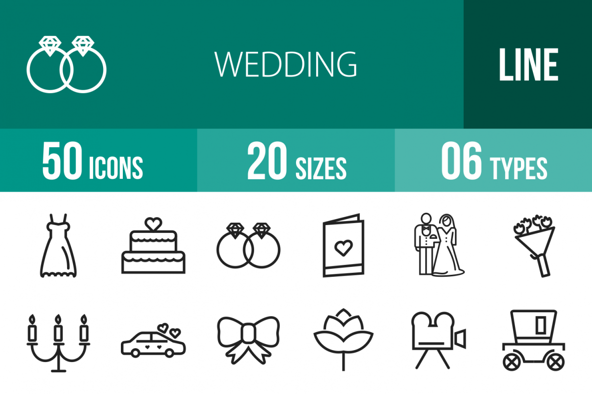 50 Wedding Line Icons example image 1