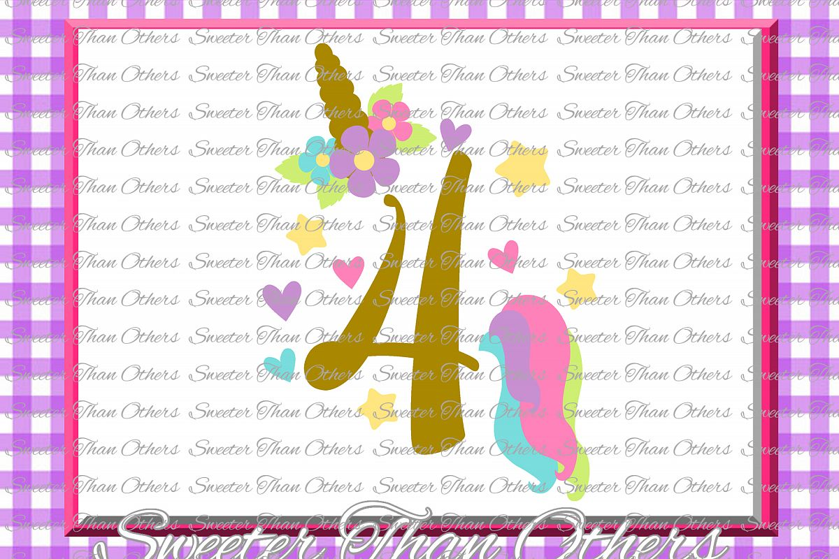 Fourth Birthday SVG, 4th Birthday Unicorn svg example image 1
