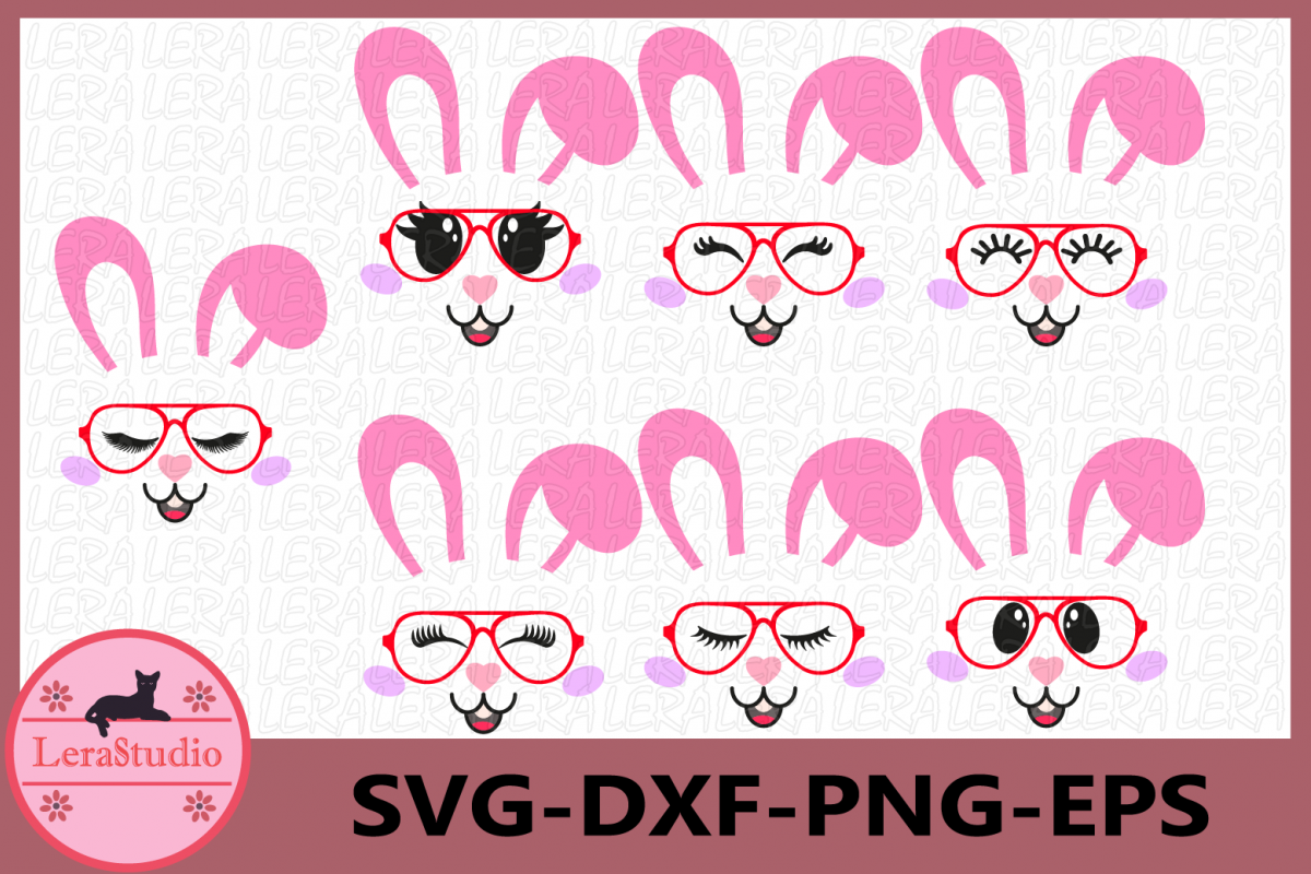 Bunny Easter SVG, Bunny Face Clipart, Glasses Svg, Bunny example image 1