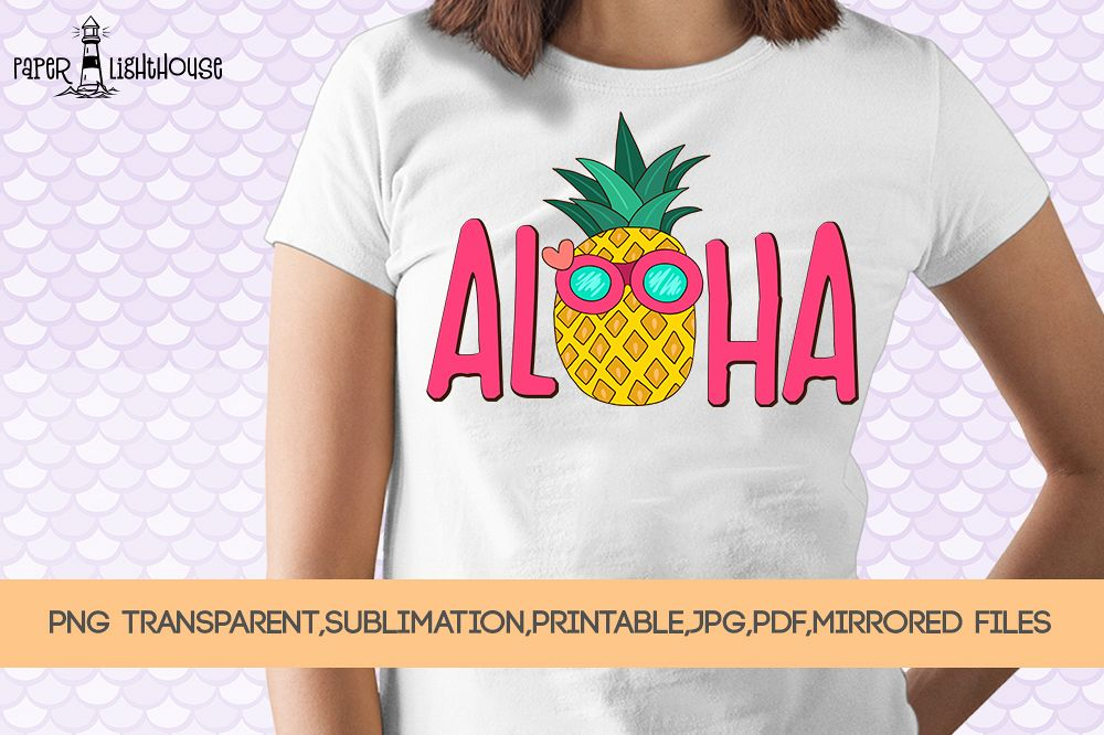 Aloha Pineapple - Summer sublimation, clipart, printable example image 1