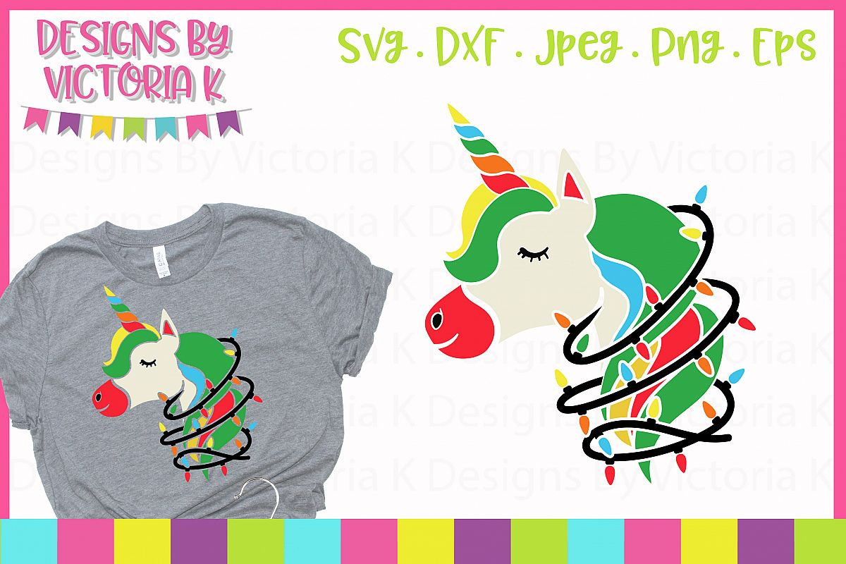 Christmas lights unicorn SVG, DXF example image 1