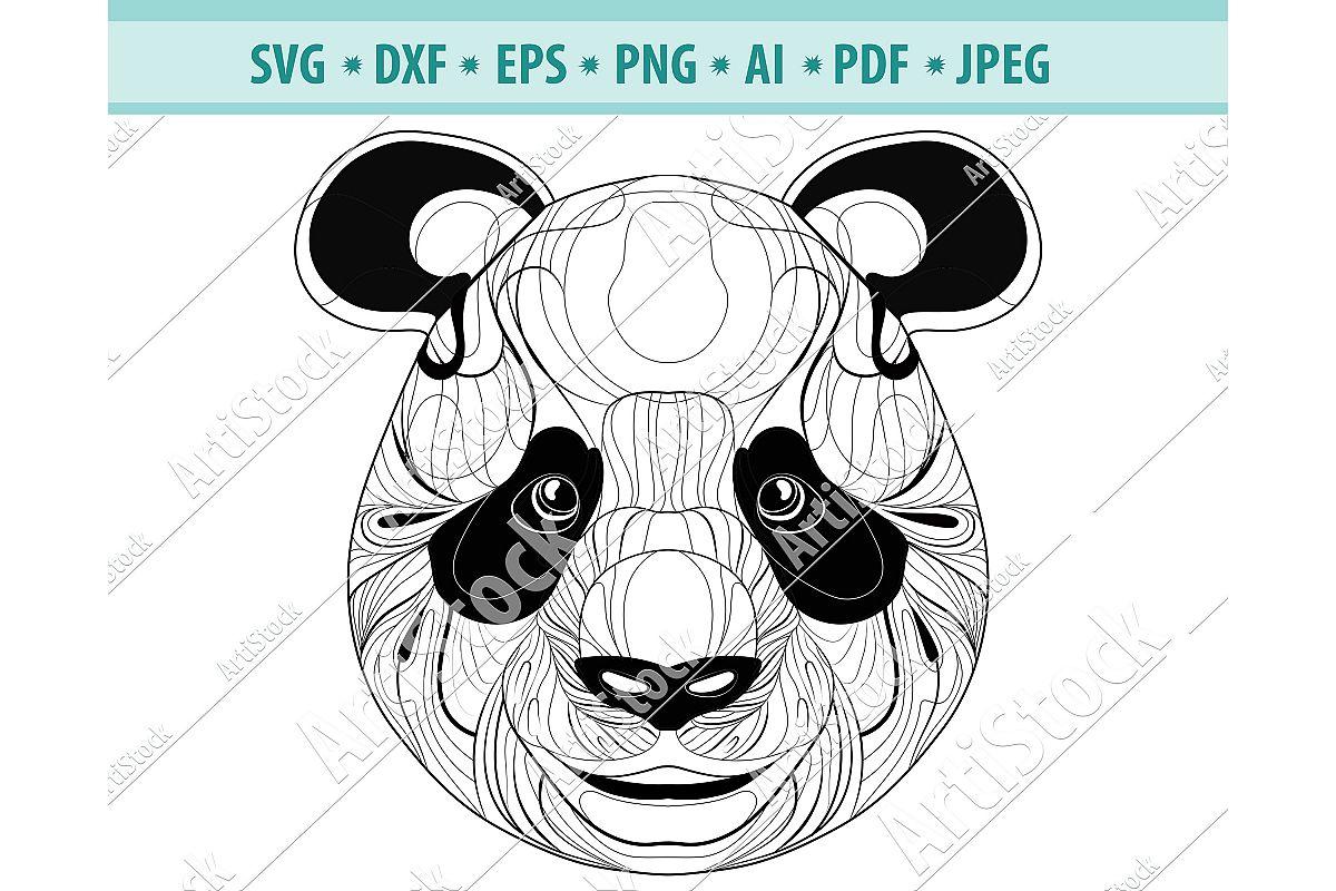 Zentangle Panda SVG, Mandala Panda SVG,Panda for cricut Svg example image 1