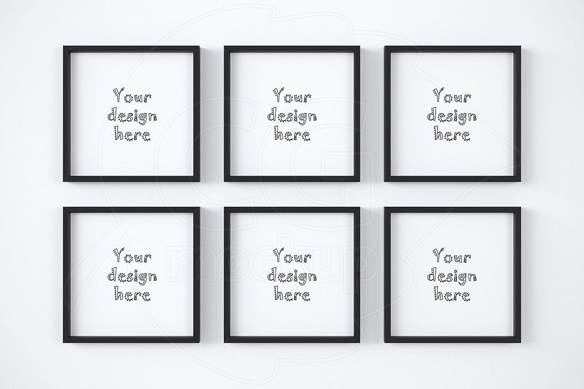Kit of six square frame mockups