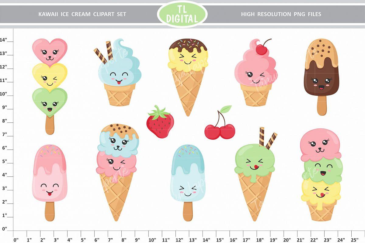 Kawaii Ice Cream Clipart Set - PNG Files - 12 Graphics example image 1