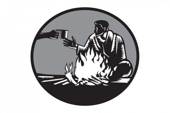 Camper Campfire Cup of Coffee Circle Woodcut example image 1