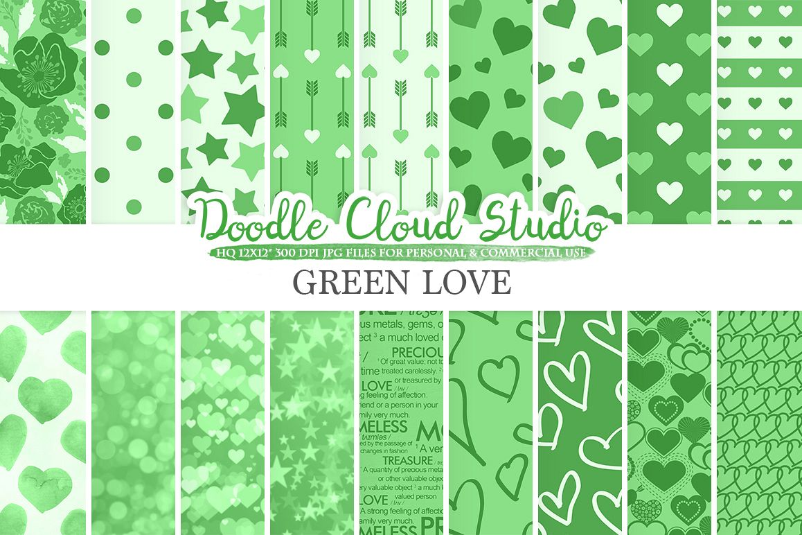 Dark Green Romantic digital paper, Valentine's day patterns,  Love Roses Romance Heart background Instant Download Personal & Commercial Use example image 1