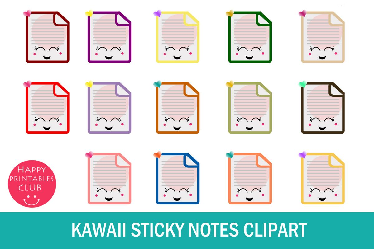image relating to Printable Sticky Notes identified as 40 Kawaii Sticky Notes Clipart- Short article It Notes Clipart Photos