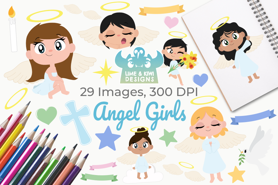 Angel Girls Clipart, Instant Download Vector Art example image 1
