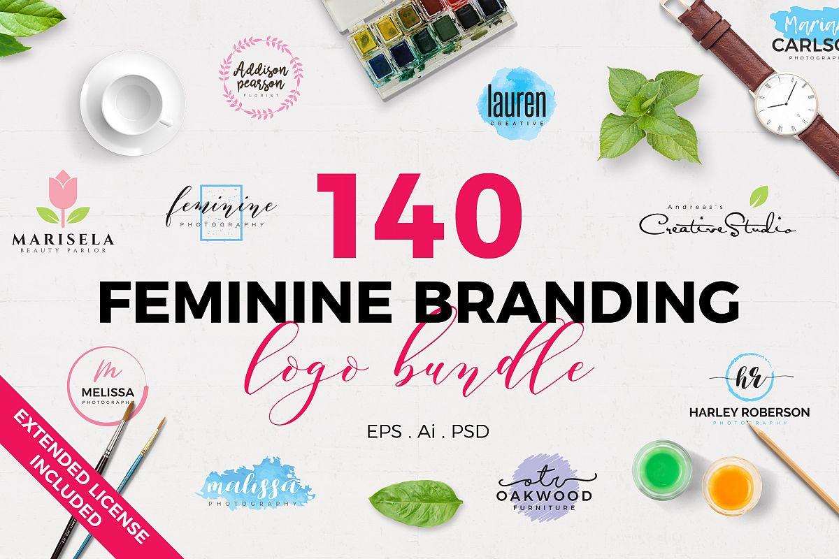 140 Feminine Branding Logo Bundle Free Download