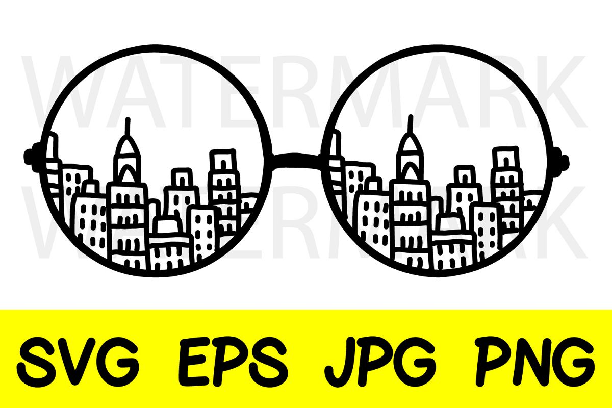 Glasses of City - SVG-EPS-JPG-PNG example image 1