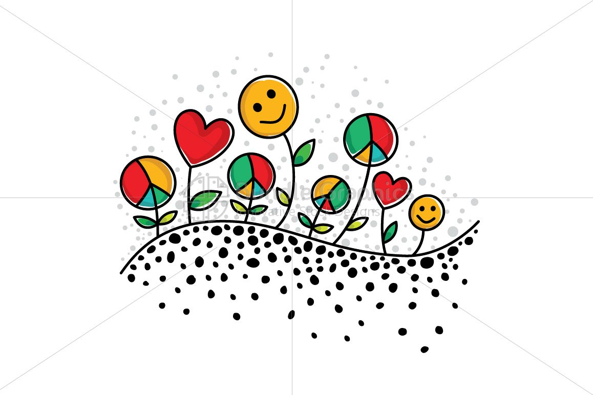 Sow Peace, Grow Love, Get Happiness - Vector Illustration example image 1