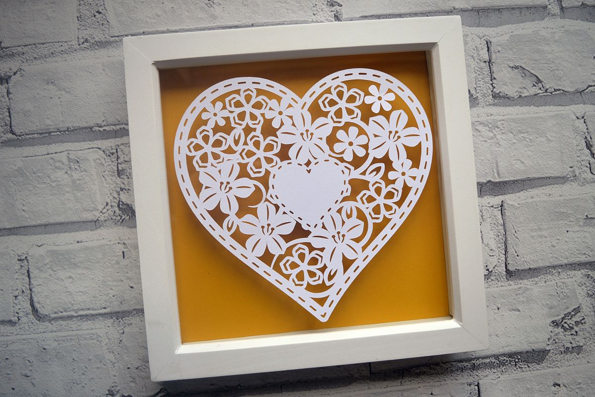 Heart paper cut SVG  DXF  EPS files example image 1