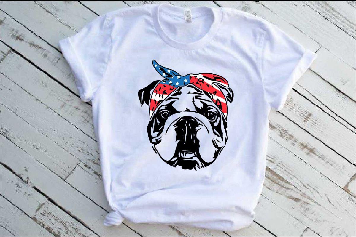 Bulldog USA Bandana Head French Dog 4th July 1376S example image 1