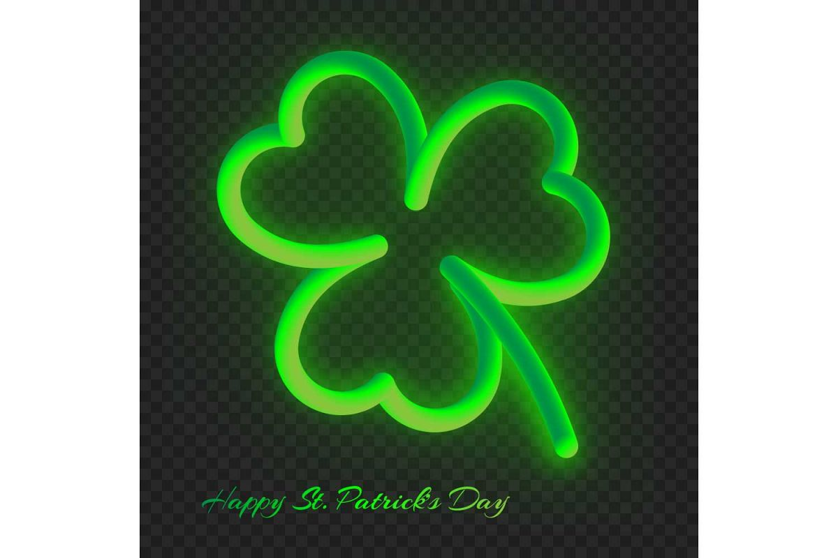 Neon clover leaf with a gradient example image 1