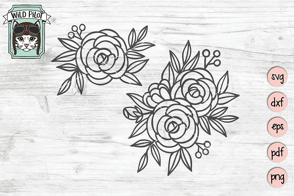 Flowers SVG File, Roses, Floral cut file, Flowers cut file example image 1