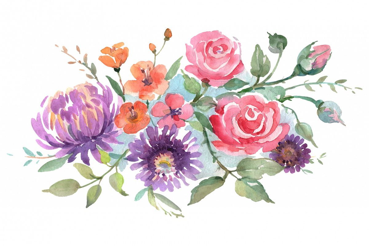 Bouquet with roses and asters Watercolor png example image 1