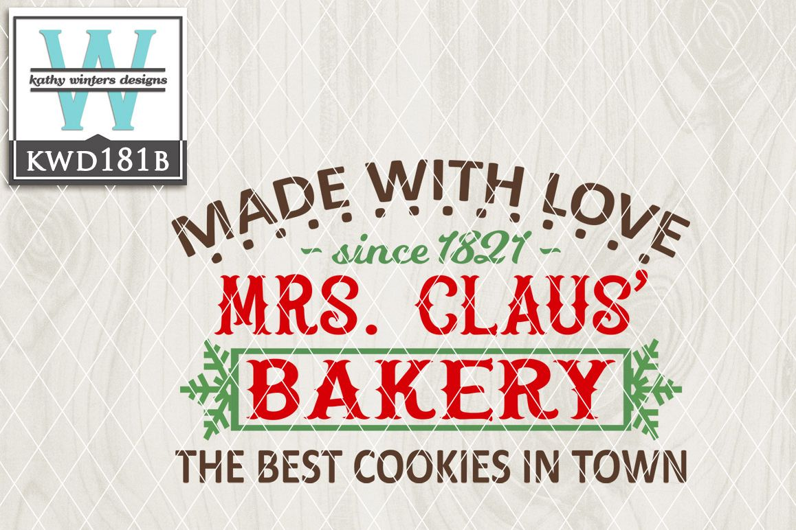 Christmas SVG - Mrs. Claus Bakery KWD181B example image 1