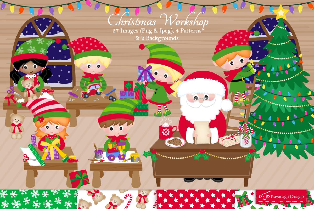Christmas clipart bundle, Santa clipart, Elf clipart -C42 example image 1