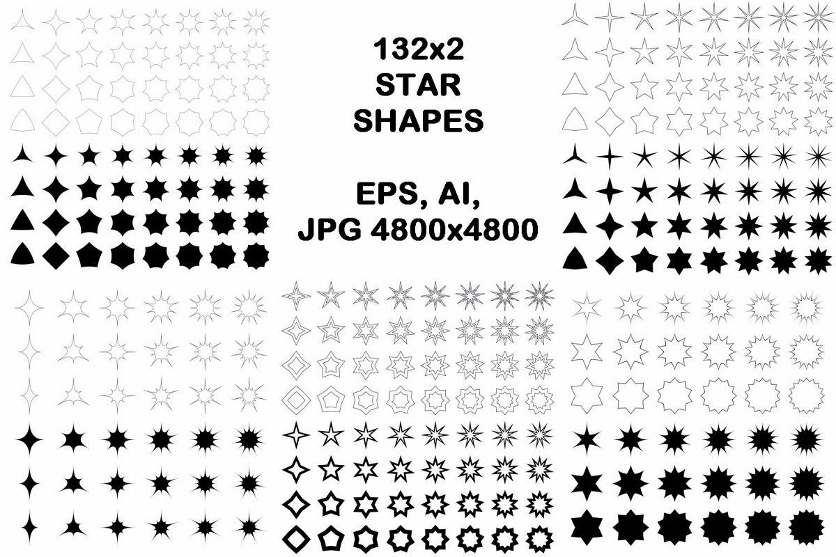 132x2 star shapes (EPS, AI, JPG 4800x4800) example image 1