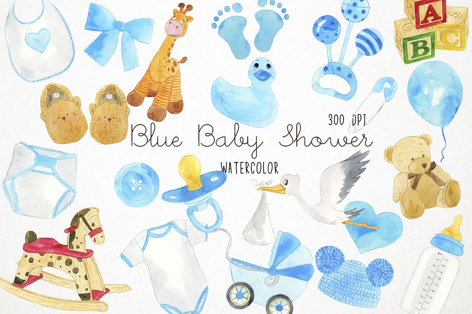 Baby blue. Watercolor shower clipart