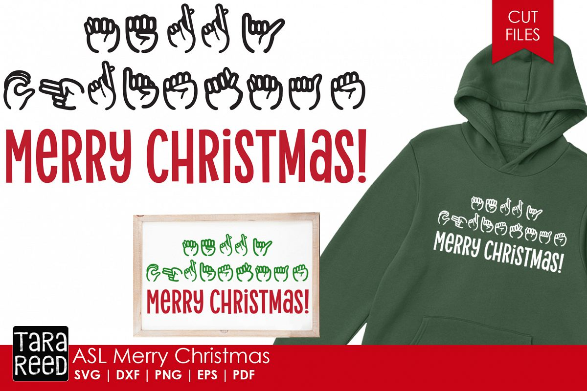 ASL Merry Christmas - Sign Language SVG & Cut Files example image 1