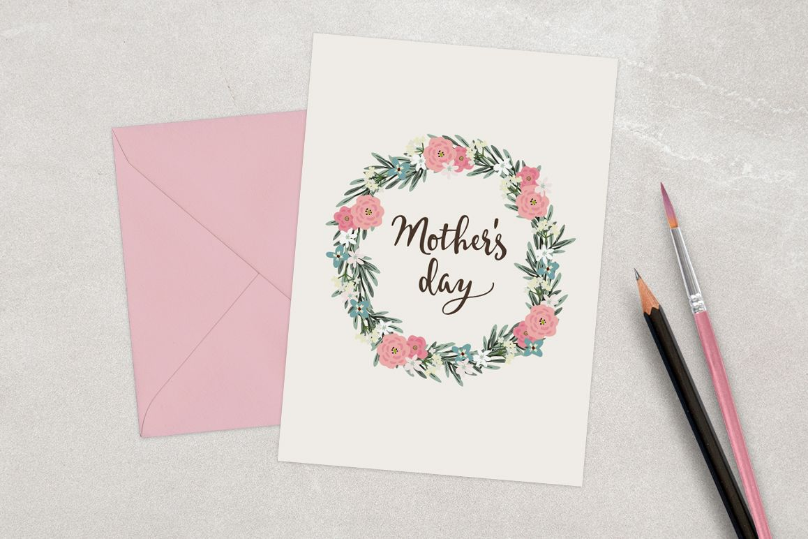Happy Mother's day card with floral wreath example image 1