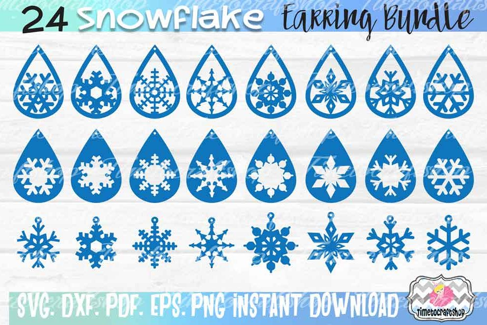 24 Snowflake Earring Template Bundle, Faux leather Earring example image 1