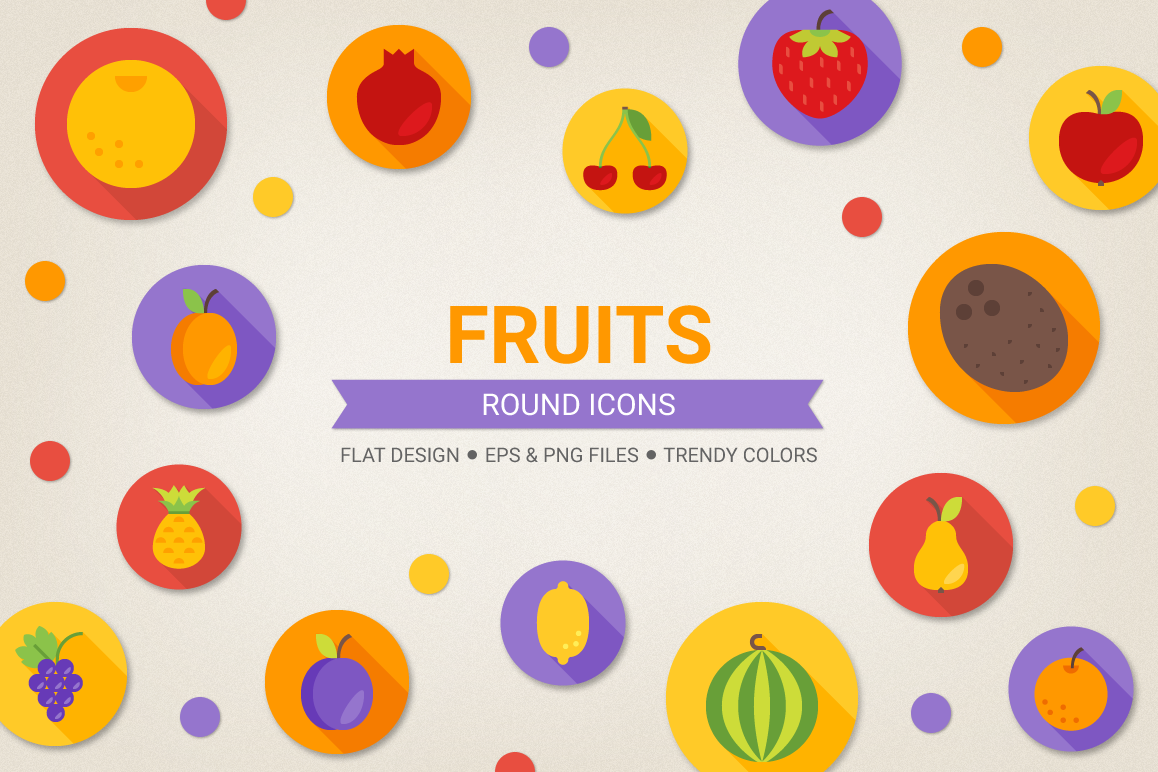 Round Fruits Icons example image 1