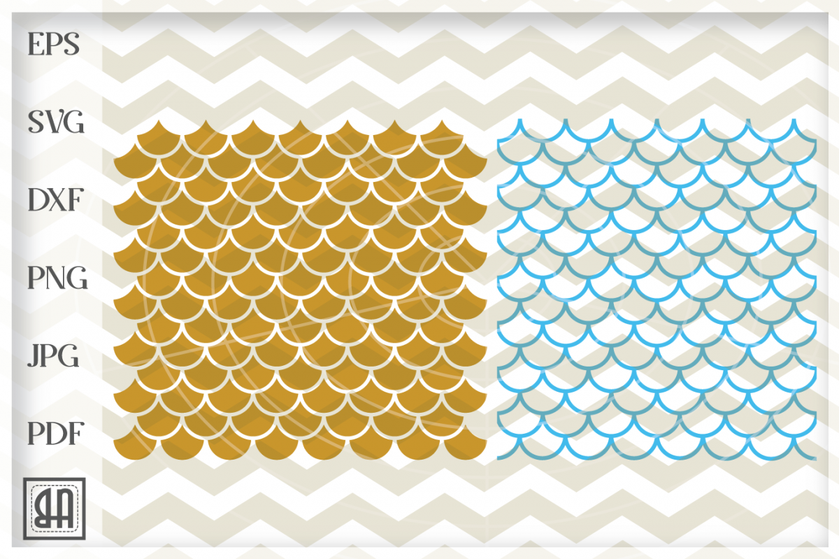 Mermaid seamless pattern, Mermaid scale svg, Fish scale SVG example image 1